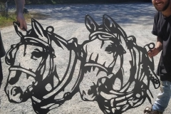 horses cut from steel and powder coated