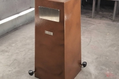 copper vein powder coated pedestal with plaque