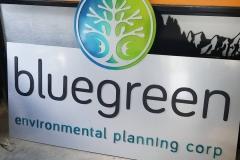 bluegreen signage multi colour powder coat