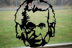 albert einstein silhouette metal