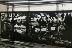large railing insert powder coated black
