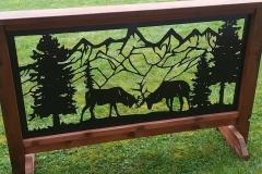 wood framed elk railing insert