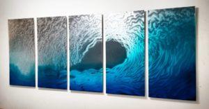 blue wave metal wall art